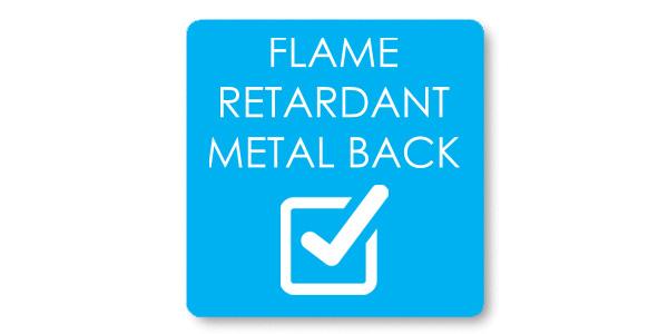Flame retardant metal back