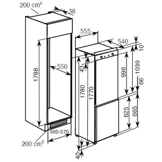 Комбинированные холодильники BCFT629TWRU