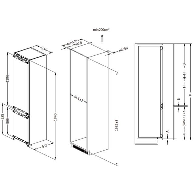 Комбинированные холодильники HRF305NFRU