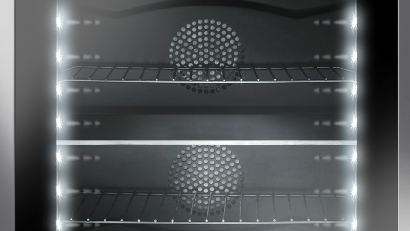 A double oven in a single cavity